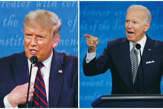 US PRESIDENT Donald Trump and Democratic presidential nominee Joe Biden debate in Cleveland, Ohio, on Tuesday. (photo credit: BRIAN SNYDER / REUTERS)
