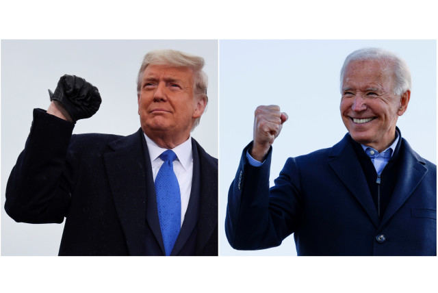 Donald Trump and Joe Biden (photo credit: REUTERS/JONATHAN ERNST/BRIAN SNYDER/FILE PHOTOS)