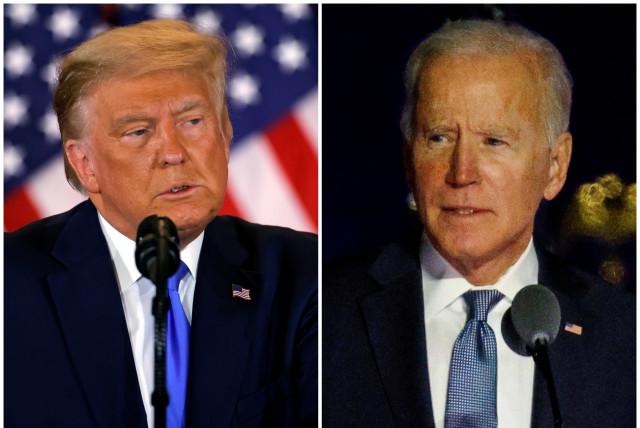 Donald Trump and Joe Biden (photo credit: REUTERS/MIKE SEGAR/CARLOS BARRIA)
