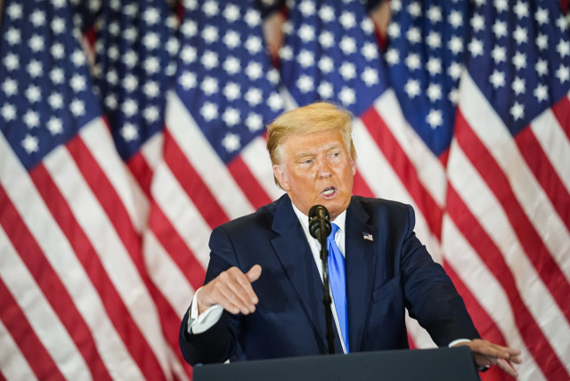 President Donald J. Trump speaks during an election event at the White House in the early morning hours on November 4, 2020 in Washington, D.C. Liberal Jews fear that even if the president is defeated, his ideology has not been repudiated.  (photo credit: JABIN BOTSFORD/THE WASHINGTON POST VIA GETTY IMAGES)