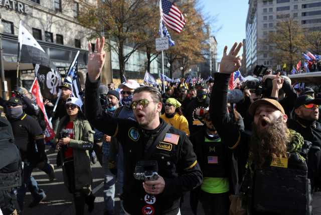 Supporters of U.S. President Trump protest against election results, in Washington (photo credit: REUTERS/JIM URQUHART)
