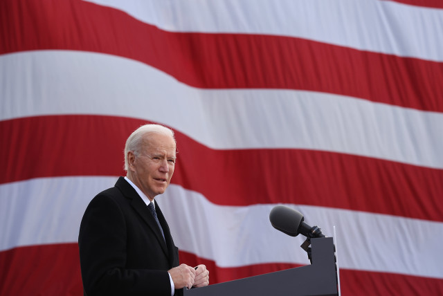 "President-elect Joe Biden delivers remarks at the Major Joseph R. ""Beau"" Biden III National Guard/Reserve Center in New Castle, Del., Jan. 19, 2021 (photo credit: CHIP SOMODEVILLA/GETTY IMAGES)"