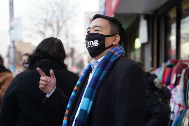 """NYC mayoral candidate Andrew Yang, asked about improving secular education at yeshivas, said """"we shouldn't interfere with their religious and parental choice as long as the outcomes are good."""" (photo credit: YANG FOR NEW YORK)"""
