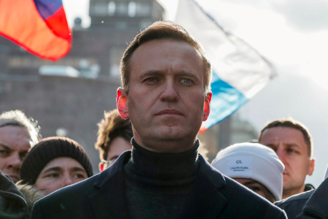 Russian opposition politician Alexei Navalny takes part in a rally in Moscow, Russia, February 29, 2020.  (photo credit: REUTERS/SHAMIL ZHUMATOV/FILE PHOTO)