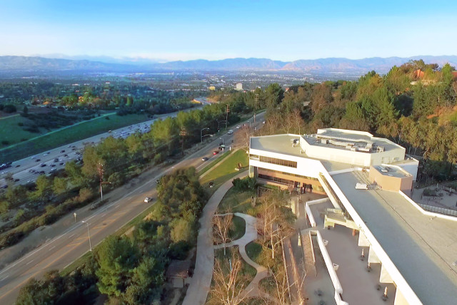An aerial view of American Jewish University's Sunny & Isadore Familian Campus in the Bel Air neighborhood of Los Angeles (photo credit: COMMUNICATIONS DEPARTMENT AJU)