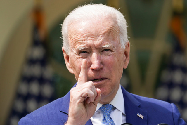 US President Joe Biden speaks as he announces executive actions on gun violence prevention in the Rose Garden at the White House in Washington, US, April 8, 2021 (photo credit: REUTERS/KEVIN LAMARQUE)