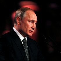 Russian President Vladimir Putin speaks at the World Holocaust Forum marking 75 years since the liberation of the Nazi extermination camp Auschwitz, at Yad Vashem Holocaust memorial centre in Jerusalem January 23, 2020