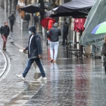 A wintery storm of rain and hail hits Jerusalem, Israel