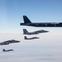 Israeli Air Force F-15 fighter jets escort two American B-52 bombers through Israeli airspace. March 7, 2021.