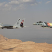 """IAF Commander Maj.-Gen. Amikam Norkin in a """"Baz"""" F-15 fighter jet, alongside an """"Adir"""" F-35, with Luftwaffe (German Air Force) Inspector Lt.-Gen. Ingo Gerhartz in the """"Eagle Star"""" Eurofighter, painted with the Israeli and German flags"""