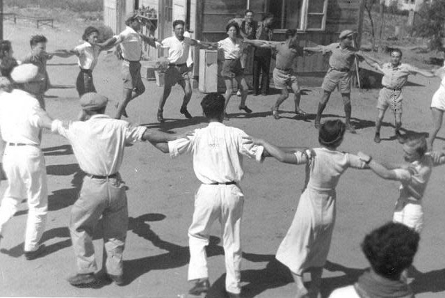 Young Israelis dance in one of the first Jewish settlements between 1934 and 1937