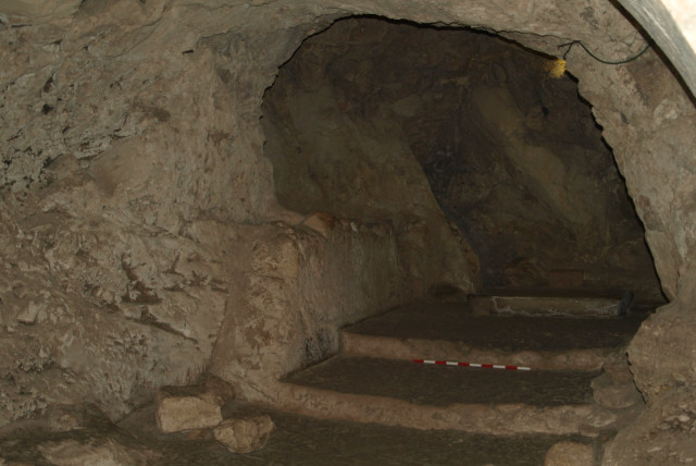 Steps are seen in a cave at the Sisters of Nazareth site.
