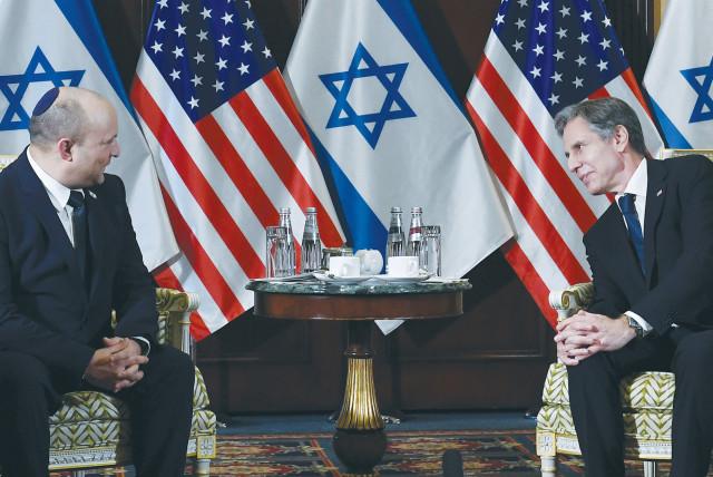 PRIME MINISTER Naftali Bennett meets US Secretary of State Antony Blinken at the Willard Hotel in Washington earlier this week.