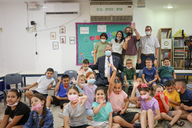 Knesset Speaker Mickey Levy at the Max Rayne Hand in Hand School which teaches Arab and Jewish students.