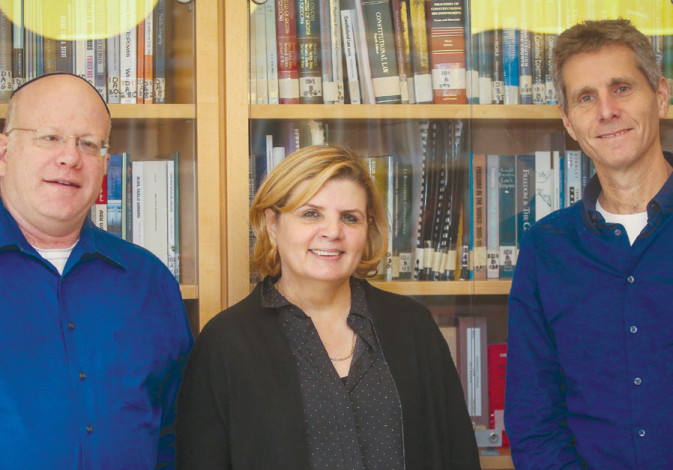 (Left to right) Prof. Amichai Cohen, Maj.-Gen.(res.) Orna Barbivai and Prof. Yuval Shany