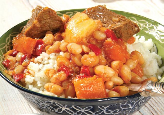 Beef, beans and pumpkin stew. (photo credit: PASCALE PERETZ RUBIN AND CHAGIT GOREN)