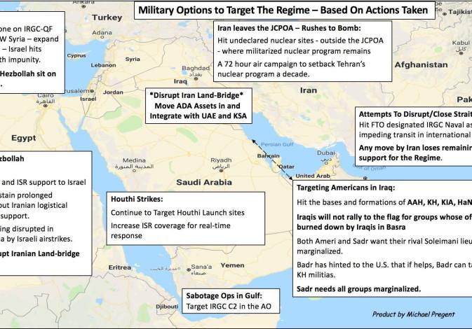 Carte de Michael Pregent des actions militaires possibles que les États-Unis pourraient entreprendre pour faire face à l'Iran, en fonction de différents scénarios de menace. (crédit photo: MICHAEL PREGENT)