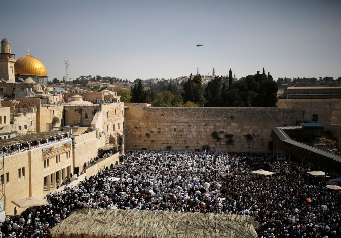 A general view shows Jewish worshippers at the Western Wall, Judaism's holiest prayer site, in Jerus