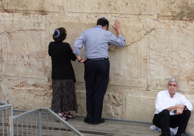 Members of the Jewish Agency Board of Governors pray at the egalitarian section of the Western Wall,
