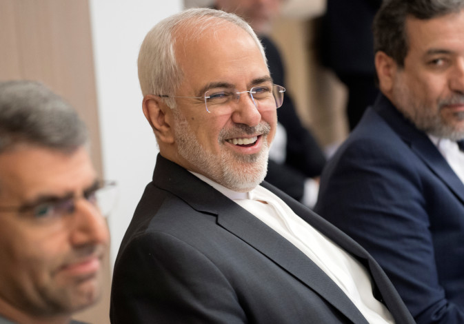 Iran's Foreign Minister Mohammad Javad Zarif attends a meeting with European Union's foreign policy
