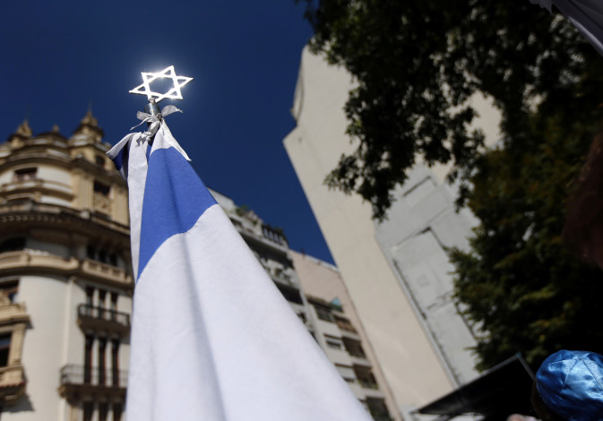 A Star of David is seen outside the former Israeli embassy in Buenos Aires, Argentina at an event to