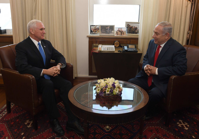 Prime Minister Benjamin Netanyahu meets with Vice President of the United States Mike Pence