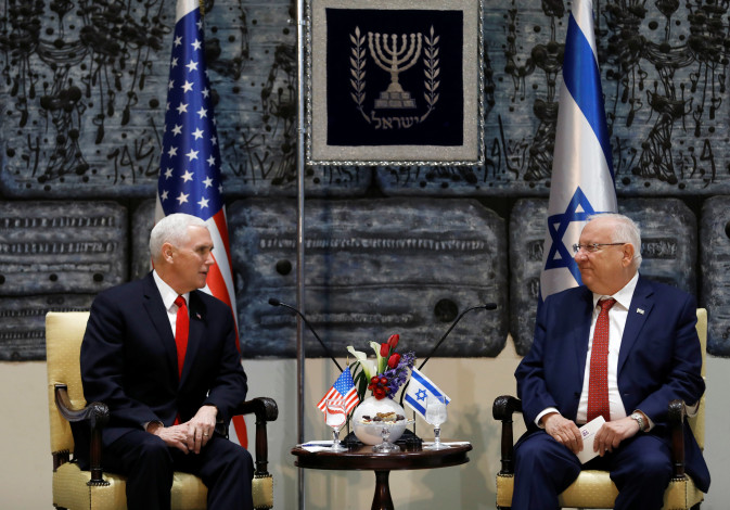 US Vice President Mike Pence sits next to Israeli President Reuven Rivlin