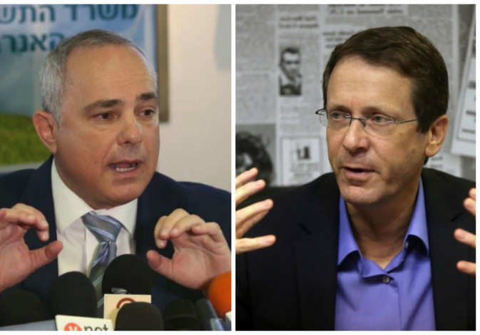 Leading candidates for Jewish Agency chairmanship Yuval Steinitz (L) and Isaac Herzog
