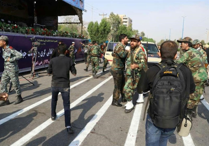 A general view of the attack during the military parade in Ahvaz, Iran, 2018