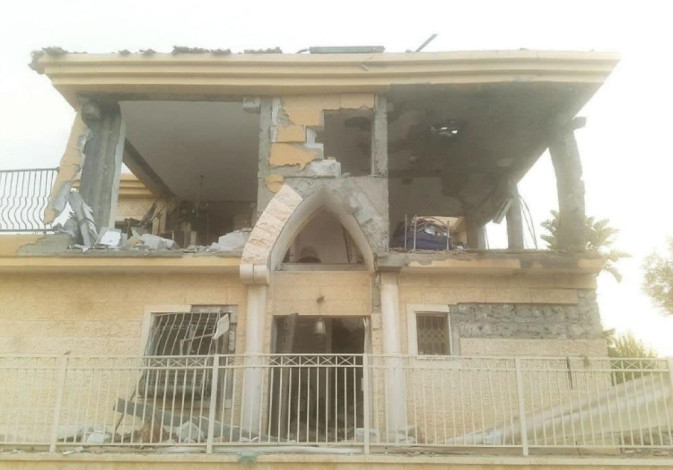 The damaged house in Beersheba from the rocket attack on Wednesday, October 17, 2018.