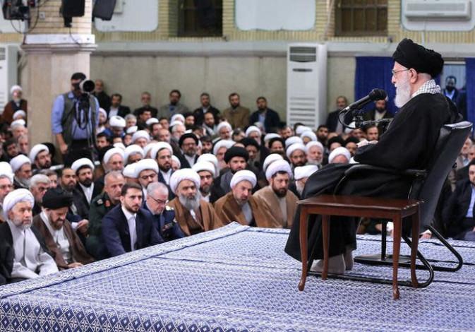 Iran's Supreme Leader Ayatollah Ali Khamenei meets with people of Qom, in Teheran, Iran.