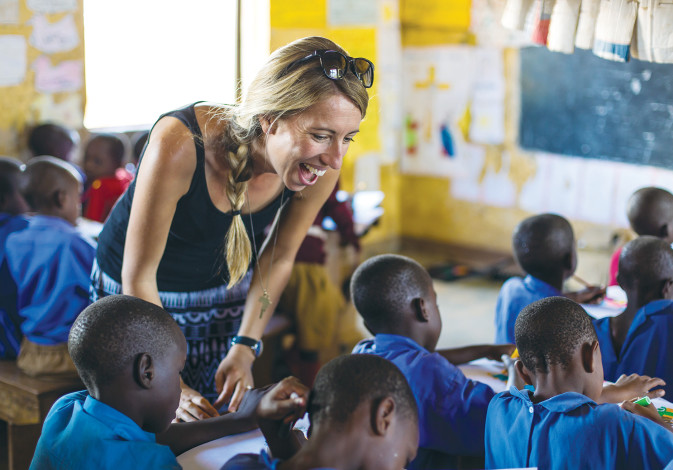 GIVINGWAY WORKS with an education NGO in a Ugandan classroom