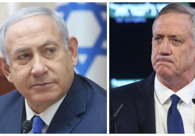 Prime Minister Benjamin Netanyahu (L) and Israel Resilience party leader Benny Gantz