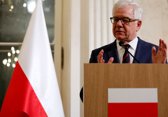 Polish Foreign Minister Jacek Czaputowicz speaks at a news conference at Lazienki Palace Feb 12 2019
