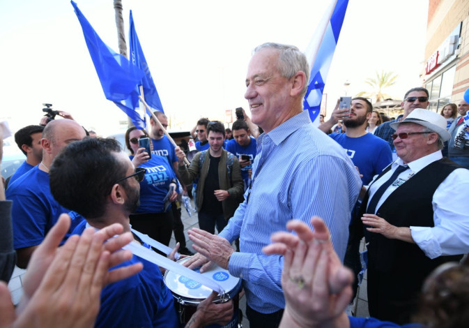 Benny Gantz at a campaign event for the Blue and White faction in Ashdod, Friday March 8, 2019.