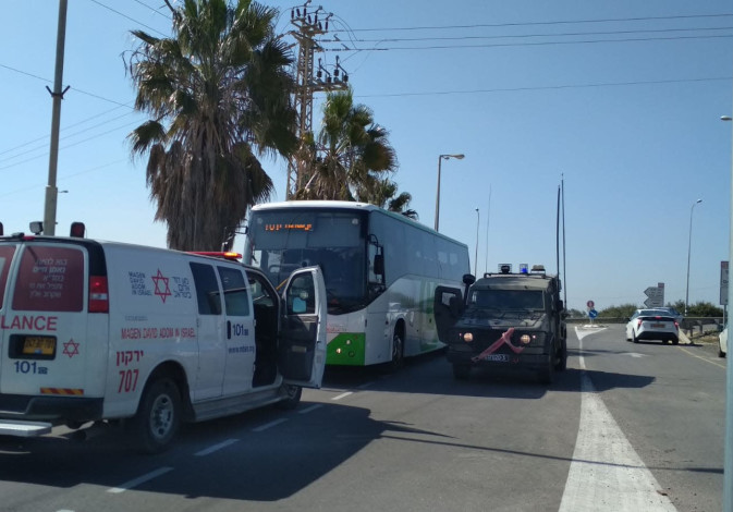 The aftermath of a rock throwing at a bus near Ariel, March 20th, 2019