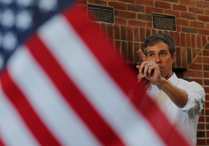 Democratic 2020 U.S. presidential candidate O'Rourke speaks in Plymouth