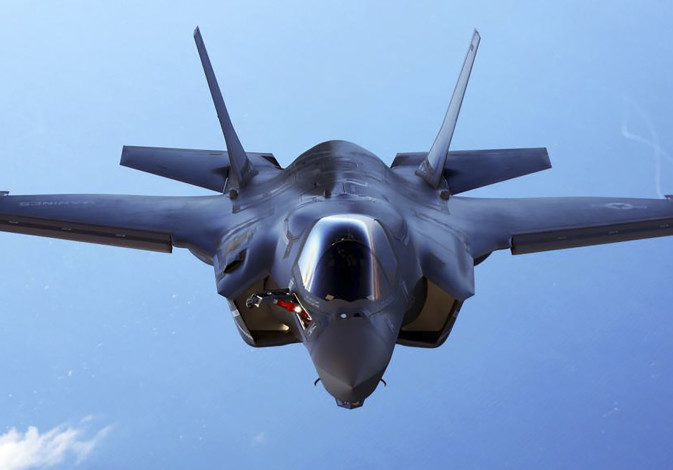 A U.S.Marine Corps F-35B joint strike fighter jet conducts aerial maneuvers