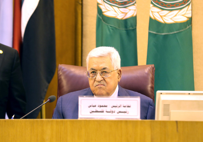PA President Mahmoud Abbas attends the Arab League's foreign ministers meeting in Cairo, April 2019
