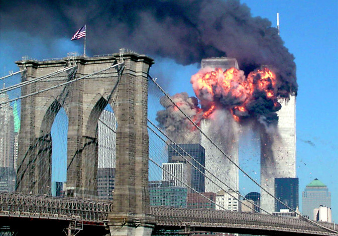 Second tower of the World Trade Center bursting into flames after being hit on Sept. 11, 2001