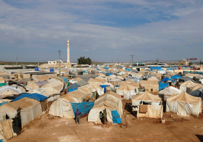 A GENERAL view of the Bab Al-Salam refugee camp in Azaz, near the Syrian-Turkish border, one of many camps housing Syrian refugees. (photo credit: REUTERS)