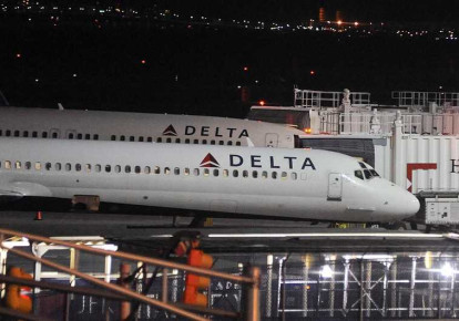 Delta Airlines airplanes at JFK airport, NY. (photo credit: REUTERS)