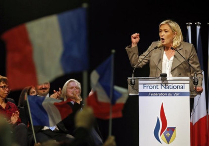 France's far-right National Front political party leader Marine Le Pen delivers a speech during a political rally in Six-Fours, near Toulon (photo credit: REUTERS)