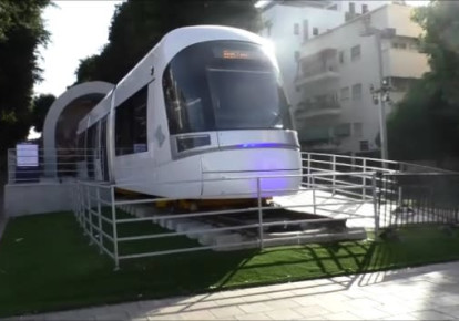 Light rail train car on display in central Tel Aviv. (photo credit: YOCHEVED LAUFER)