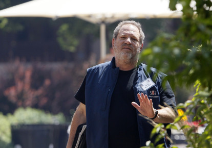 Hollywood film producer Harvey Weinstein gestures during the Allen and Co. media conference in Sun Valley (photo credit: RICK WILKING / REUTERS)