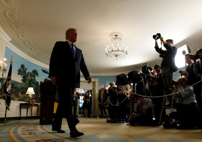 US President Donald Trump walks from the Diplomatic Reception Room after speaking about the Iran nuclear deal at the White House in Washington, US, October 13, 2017.  (photo credit: REUTERS)