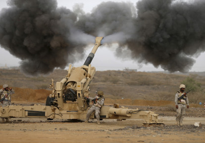 Saudi army artillery fire shells towards Houthi positions from the Saudi border with Yemen April 13, 2015.  (photo credit: REUTERS)
