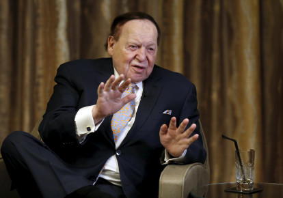 Sheldon Adelson speaks during an inteview (photo credit: REUTERS/TYRONE SIU)