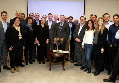 Strategic Affairs Minister Gilad Erdan lights candles with anti-BDS activists from Jewish organizations (photo credit: COURTESY MINISTRY OF STRATEGIC AFFAIRS)
