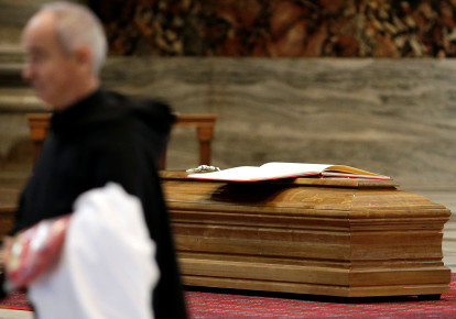 Coffin of the former Archbishop of Boston Cardinal Bernard Law is seen before the funeral in St. Peter's Basilica at the Vatican, December 21, 2017 (photo credit: MAX ROSSI / REUTERS)